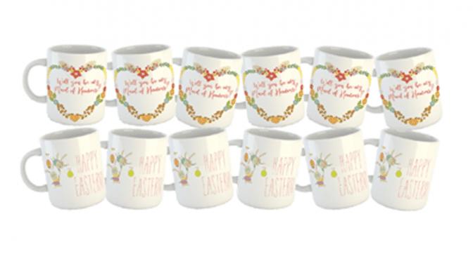 Branded promotional mug printing services.