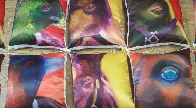Artist gift printing - printed cushions for one of our artist customers.