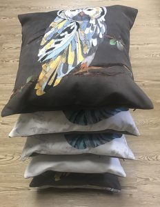 Digitally printed vegan suede cushions.